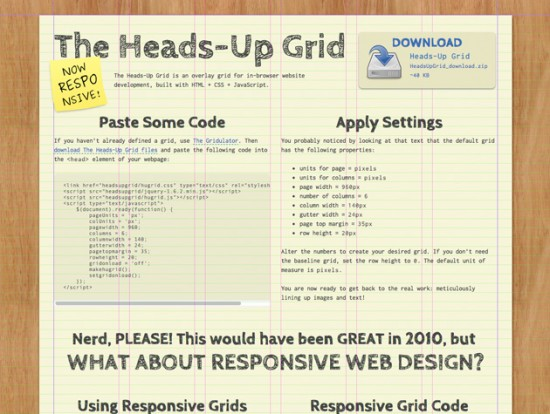 Screenshot von The Heads-Up Grid
