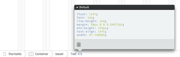 Die Canvas-Bar erlaubt eine schnelle Navigation im Dokument und zeigt die CSS-Angaben