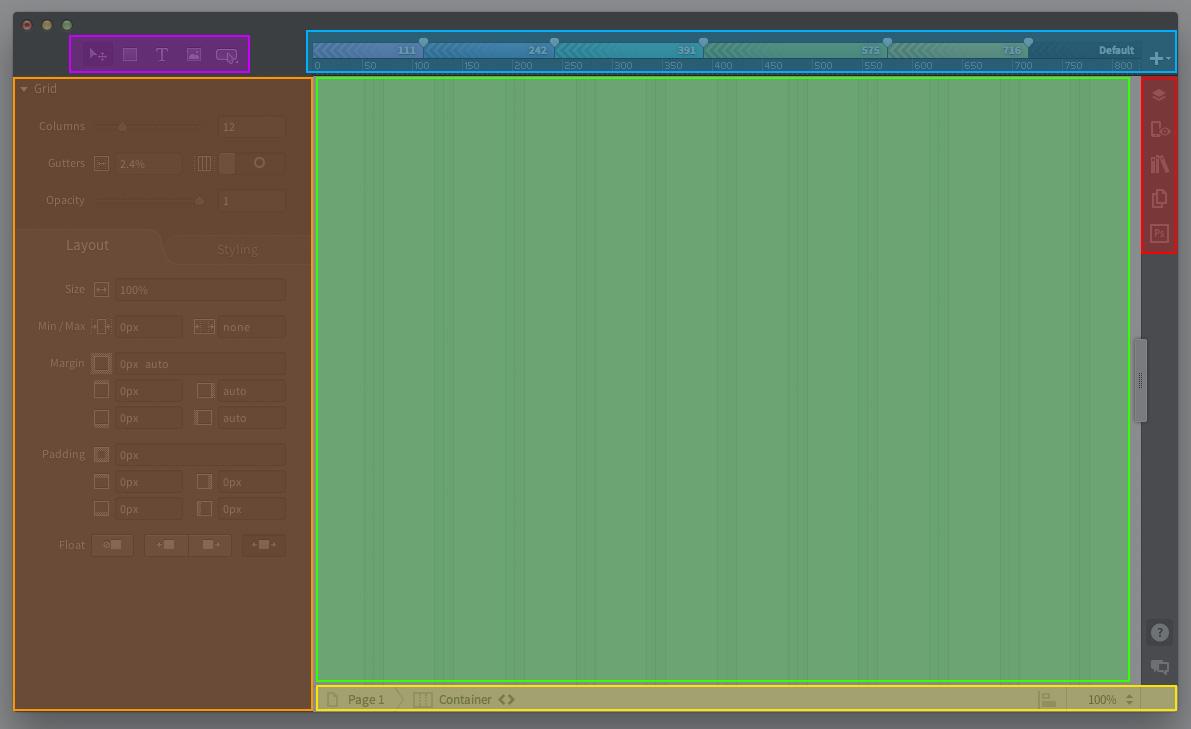 Das Reflow-Interface mit den Bereichen Arbeitsfläche (grün), Media Query-Leiste (blau), Werkzeugauswahl (violett), Eigenschaften-Leiste (orange), Canvas-Bar (gelb) und Button zum öffnen weitererBedienfelder(rot)