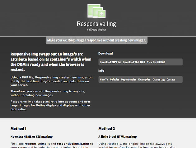 Screenshot von Responsive Img