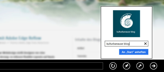 Über den Internet Explorer 10 können Websites zum Startmenü hinzugefügt werden