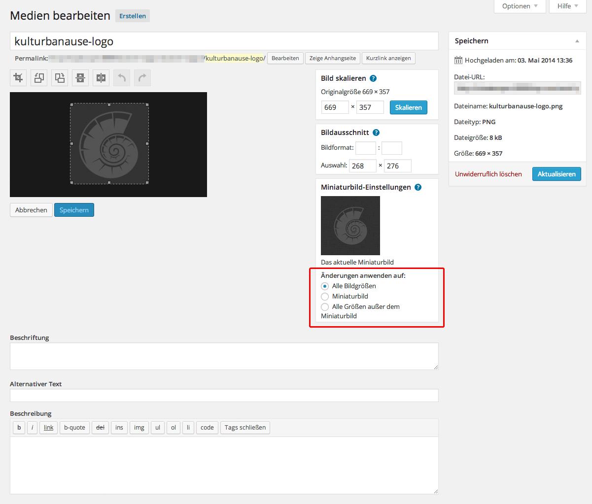 Die Bildbearbeitungsfunktionen von WordPress