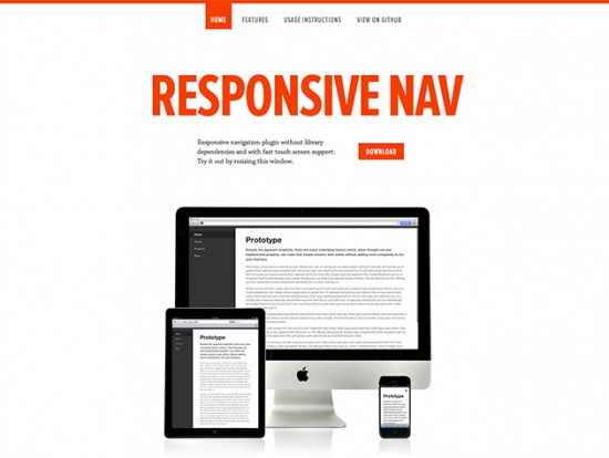 Touch Screen Navigation mit Responsive Nav
