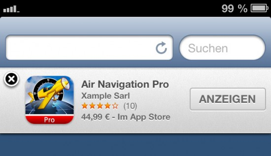 Smart-App-Banner am Beispiel der App Air Navigation