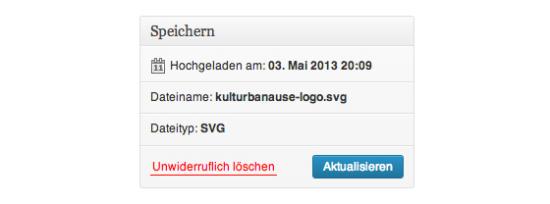 SVG-Datei in der WordPress-Mediathek