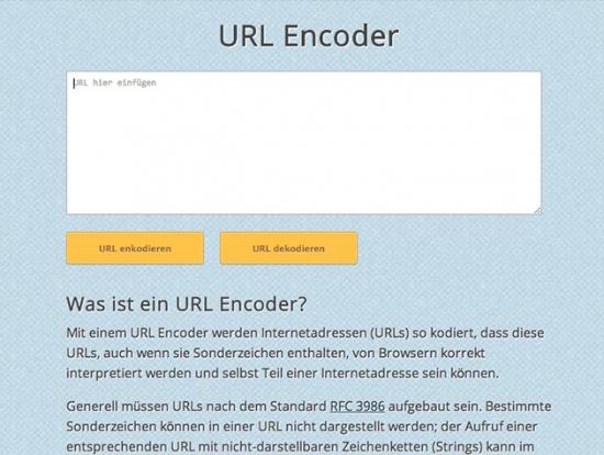 Tool zum Encoden von Sonderzeichen in URLs