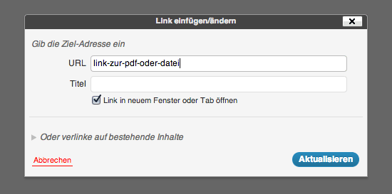 Links über den visuellen WordPress-Editor konfigurieren