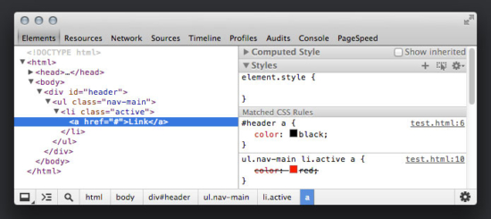 CSS-Spezifität in den Developer-Tools von Google Chrome