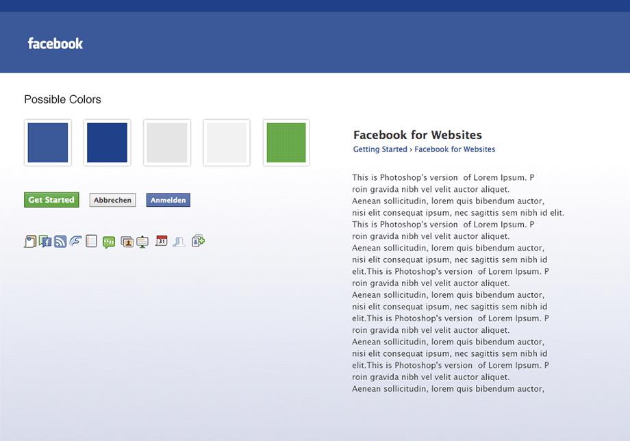 Exemplarisches Style Tiles für Facebook. Der Stil der Website ist klar erkennbar