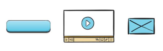 Verschiedene Komponenten einer Website: Buttons und Medieninhalte