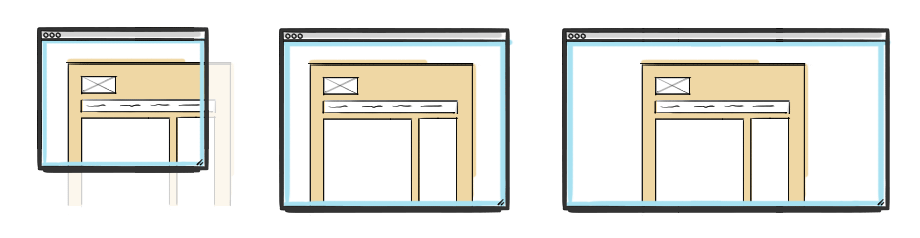 Verschiedene Viewport-Varianten einer nicht optimierten Website