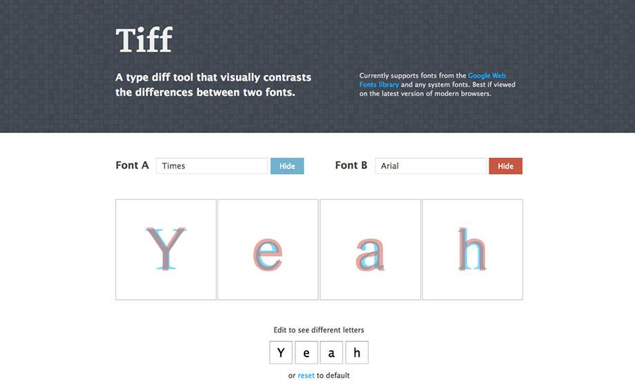 Schriften und Webfonts vergleichen – Tiff