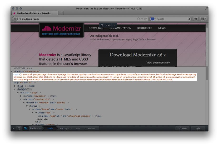Feature Detection mit Modernizr