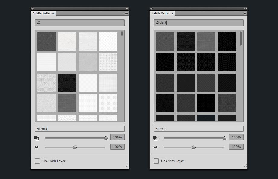 Subtle Patterns Bedienfeld mit Thumbnail-Ansicht und Suche