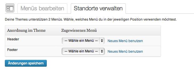 WordPress-Backend mit den zwei Navigationsbereichen Header und Footer