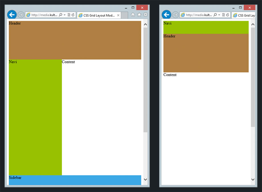Responsive Website auf Basis des Grid Layout Moduls im Internet Explorer 10
