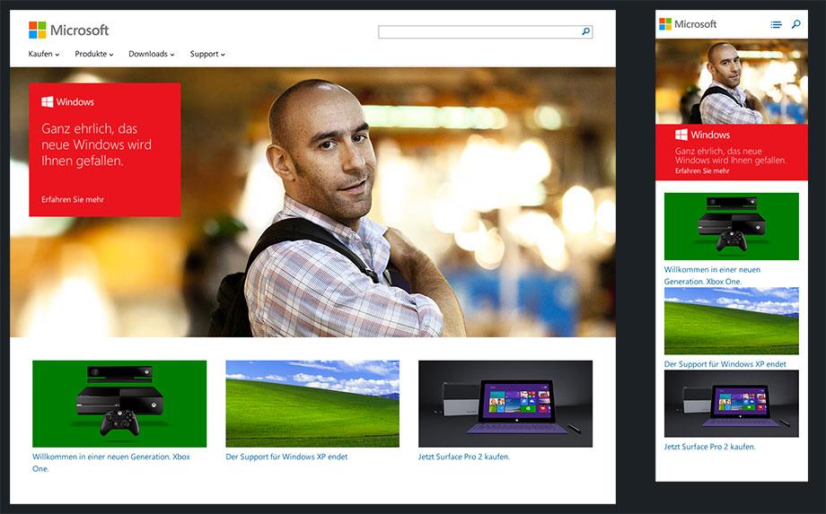 Responsive Website von Microsoft
