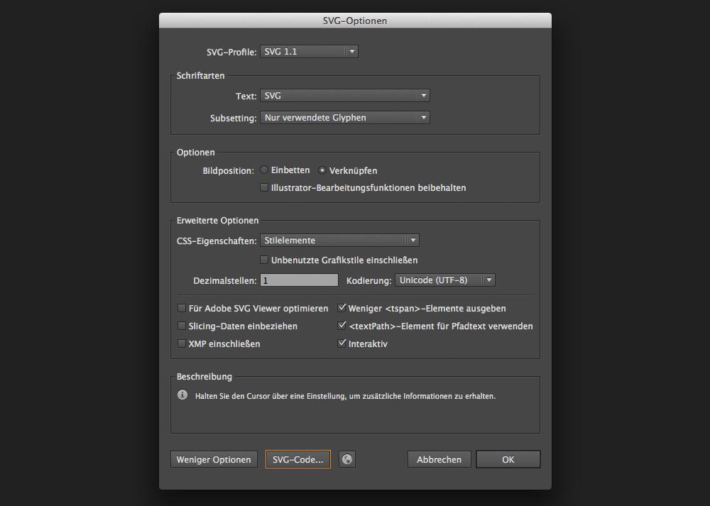 Empfohlene Export-Einstellungen für SVG im Web Design