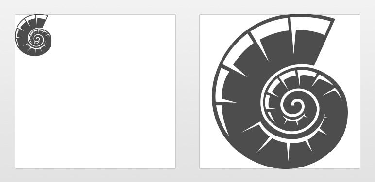 Im direkten Vergleich: Normale SVG-Grafik in Originalgröße (links) und interaktives SVG (rechts)