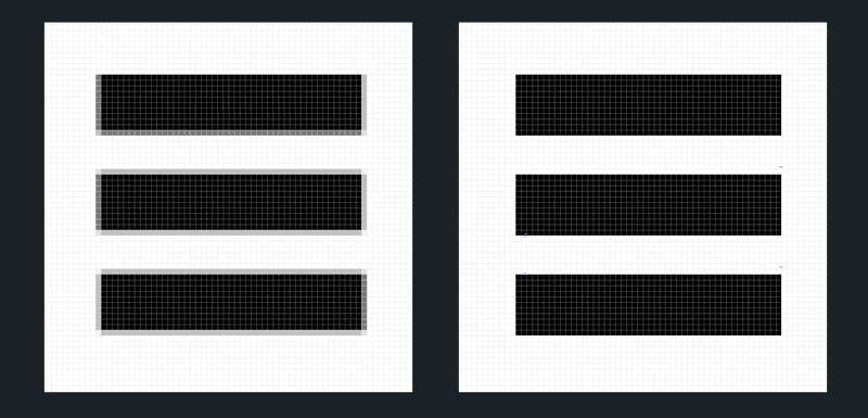 Die Kanten des Hamburger-Icons wurden in der rechten Abbildung am Raster ausgerichtet