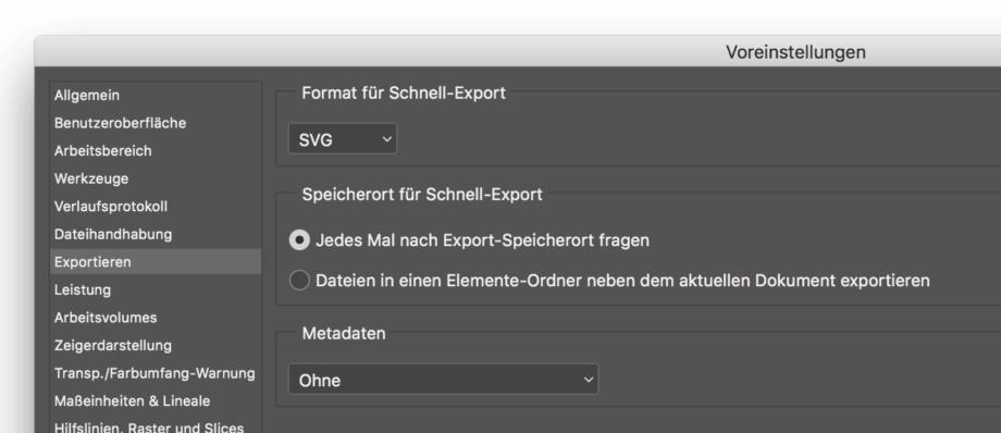 Voreinstellungen für den Schnell Export in Photoshop
