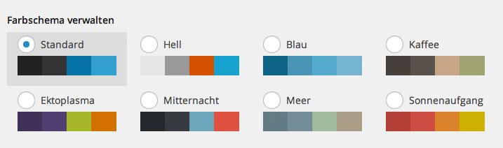 Auswahl des Farbschema in WordPress