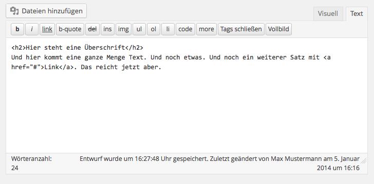 Der Text-Editor zeigt den HTML-Code des Beitrags