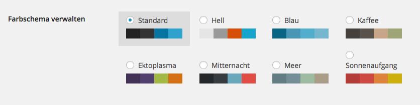 WordPress bietet verschiedene Farben für die Gestaltung des Administrationsbereichs