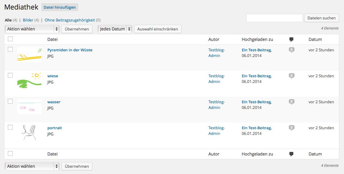 Liste aller Medieninhalte (Mediathek)
