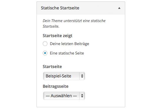 Es kann eine beliebige Seite als »statische Startseite« definiert werden