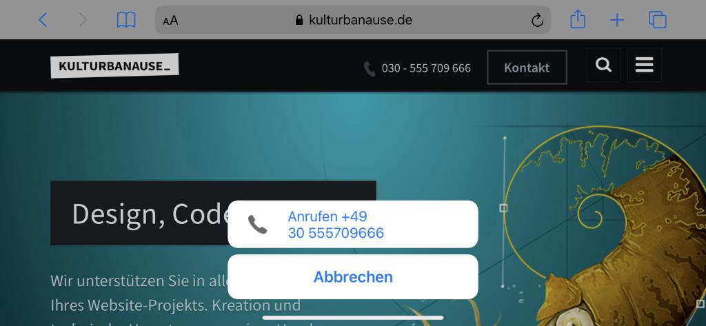 Anrufdialog unter iOS –Es wird die Telefonnummer sowie der Button »Anrufen« angezeigt
