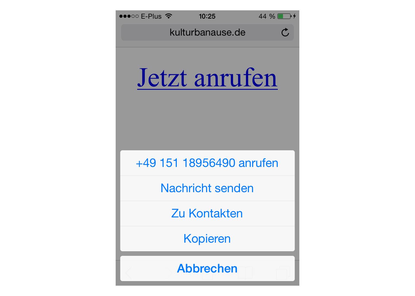 Anruf-Dialog unter iOS