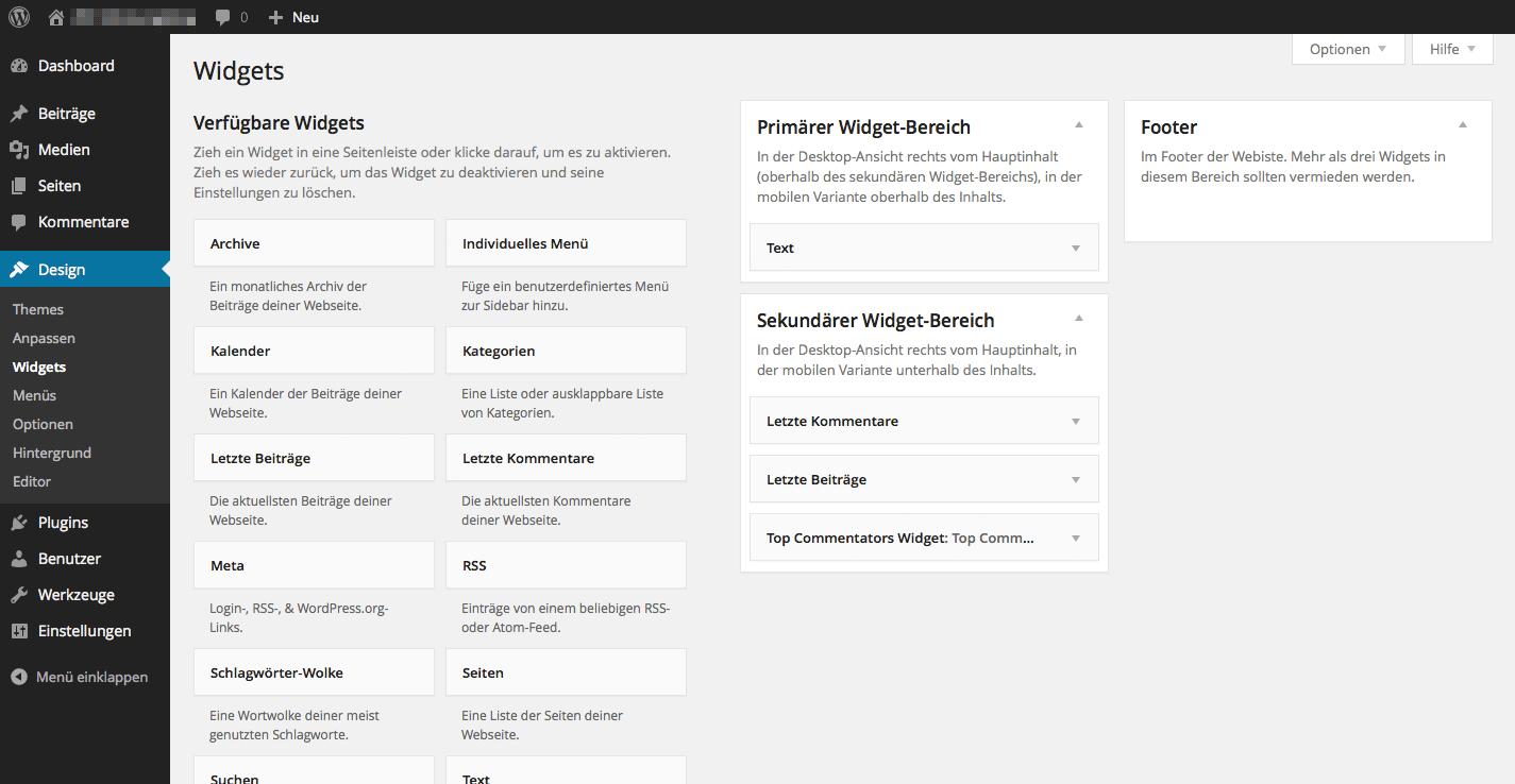 Unterseite »Widgets« mit der Liste aller verfügbaren Widgets, sowie den drei Sidebars mit einigen zugewiesenen Widgets