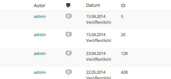 IDs im WordPress-Backend