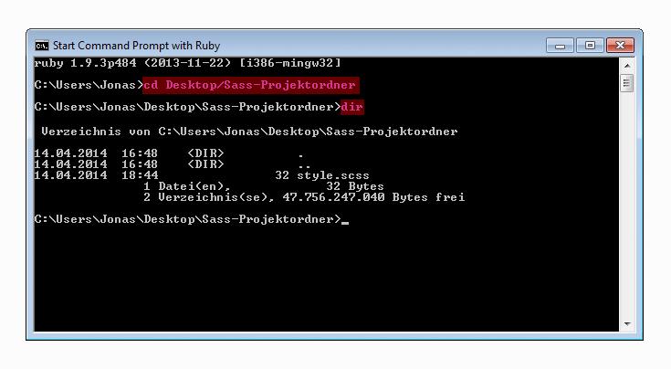 Navigation ins Zielverzeichnis in »Start Command Promt with Ruby« unter Windows 7 – Eingegebene Befehle sind magenta hervorgehoben