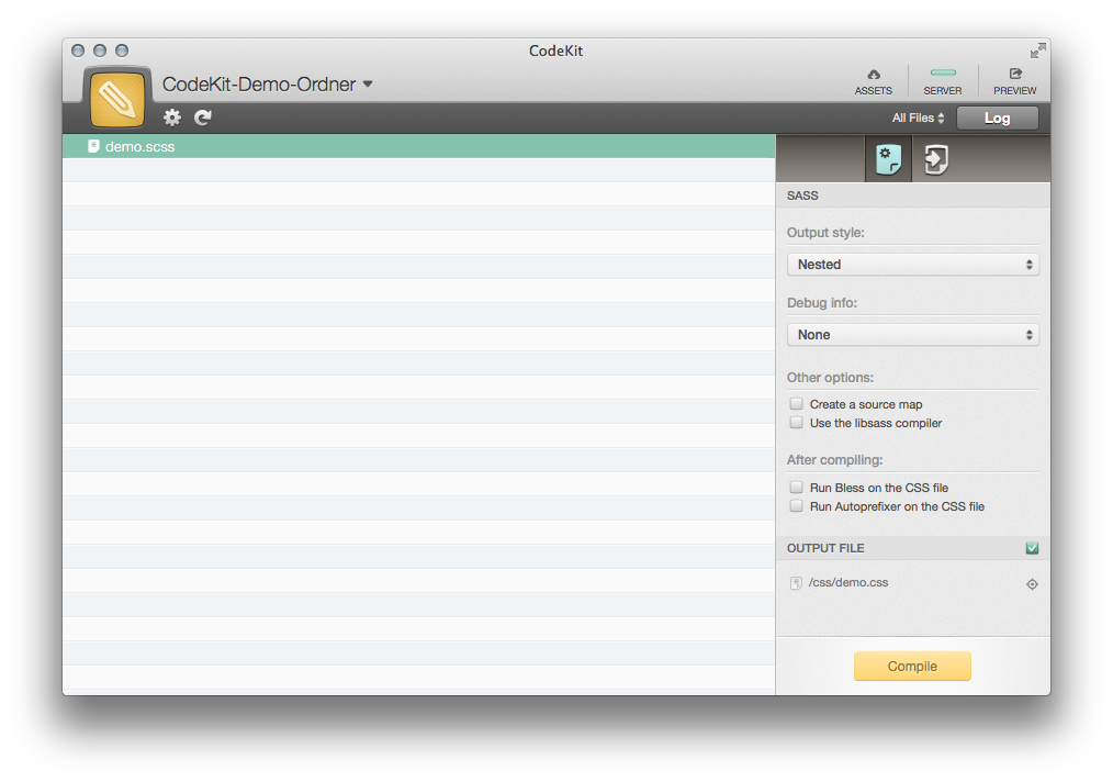 In CodeKit kann für jede einzelne Datei festgelegt werden wie sie verwaltet werden soll