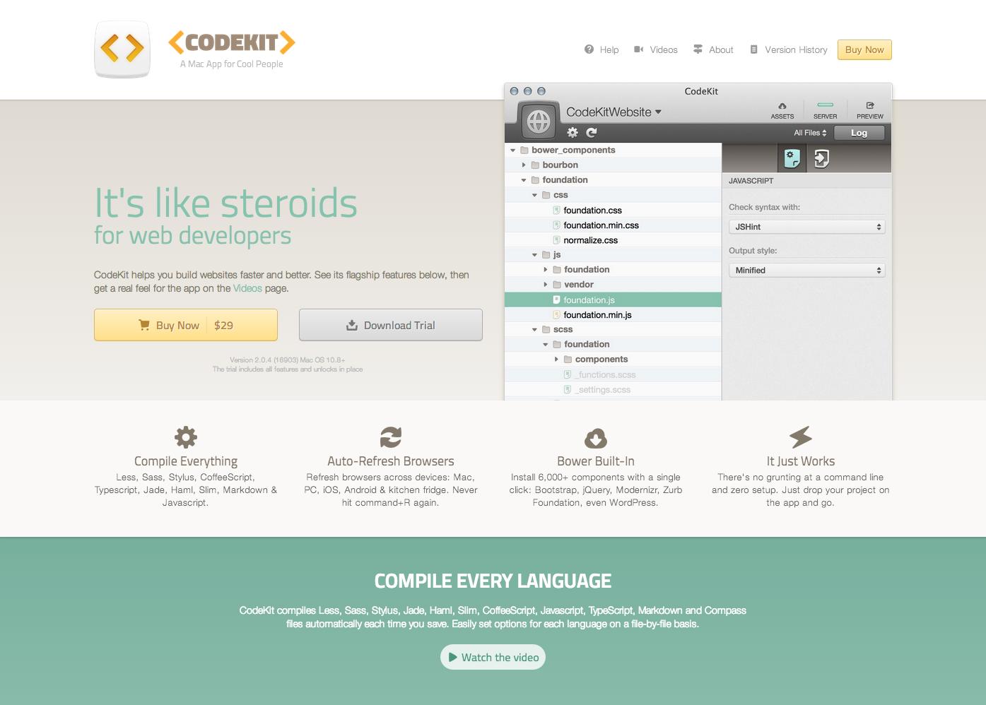 Die Website von CodeKit