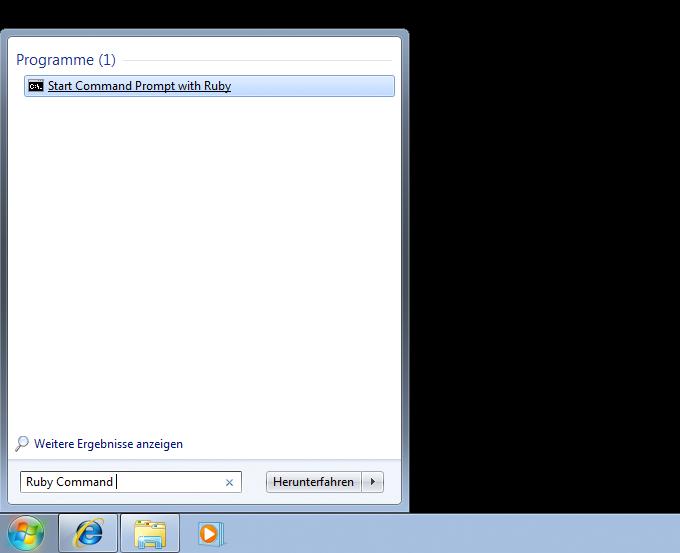 Zugriff auf das Kommandozeilen-Programm mit Hilfe der Suchfunktion im Startmenü