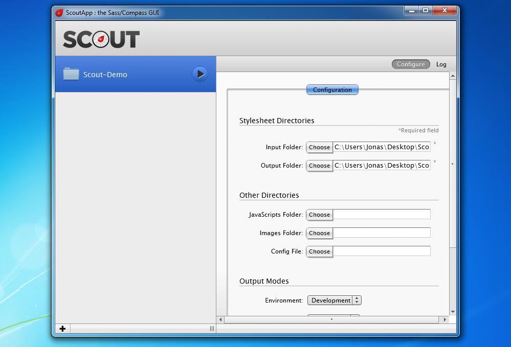 Scout mit einem eingerichteten Demo-Projekt
