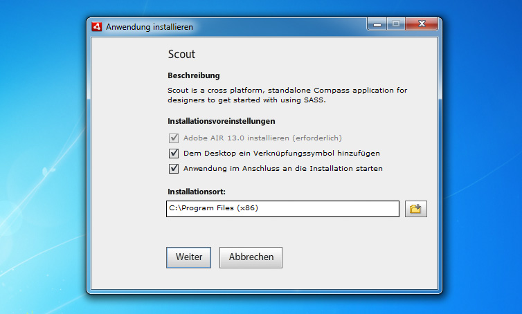 Installations-Wizard von Scout unter Windows 7