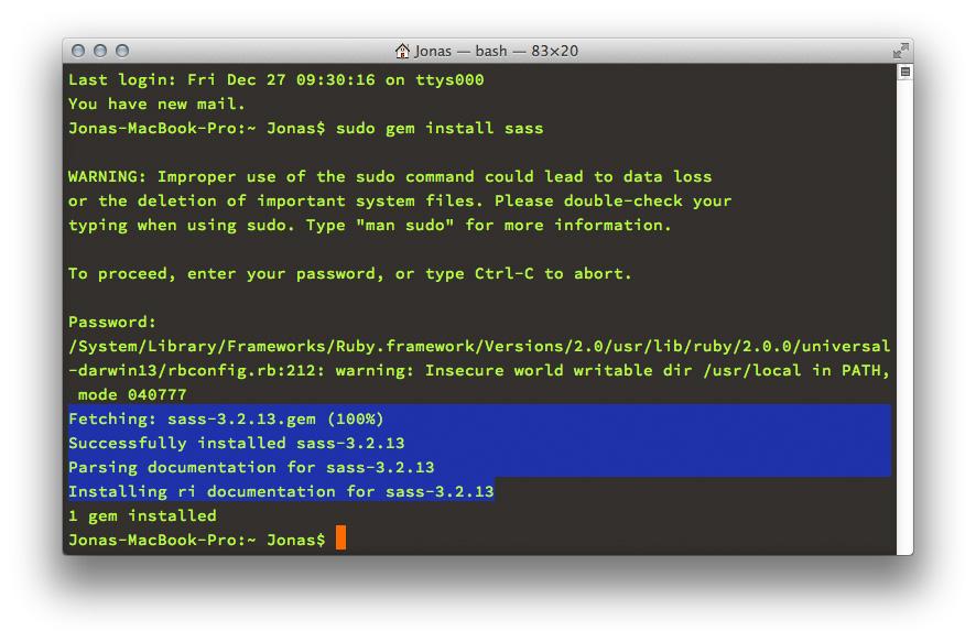 Sass-Installation im »Terminal« unter OS X