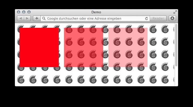 Beispiel mit semitransparenten Farben vor einer Hintergrundgrafik