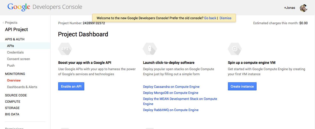 Die Developer-Bereiche von Google