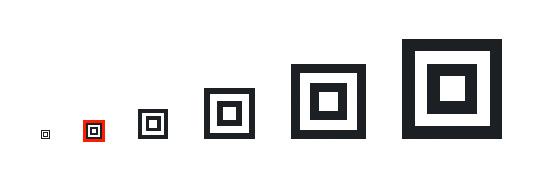 Bildskalierung im Browser mit Hilfe des pixelated-Wertes von CSS. Das rot umrahmte Element ist die Originalgröße der Grafik