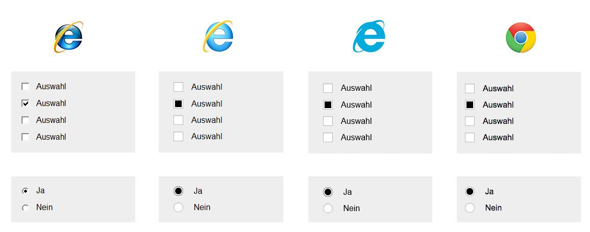 Radio-Buttons und Checkboxen im Vergleich: IE8, IE9, IE10 und – stellvertretend für moderne Browser – Chrome