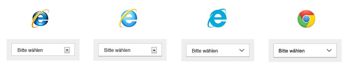Die Select-Liste im Vergleich: IE8, IE9, IE10 und – stellvertretend für die modernen Browser – Chrome