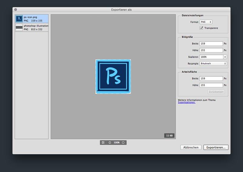 Exportieren-Dialog in Photoshop CC