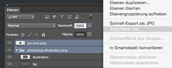 »Exportieren als«-Menüpunkt in Photoshop CC