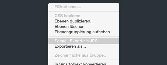 Screenshot des Schnell-Exports von Photoshop