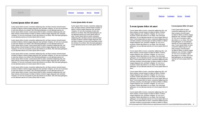 Links die Ansicht im Browser, recht die Druckansicht